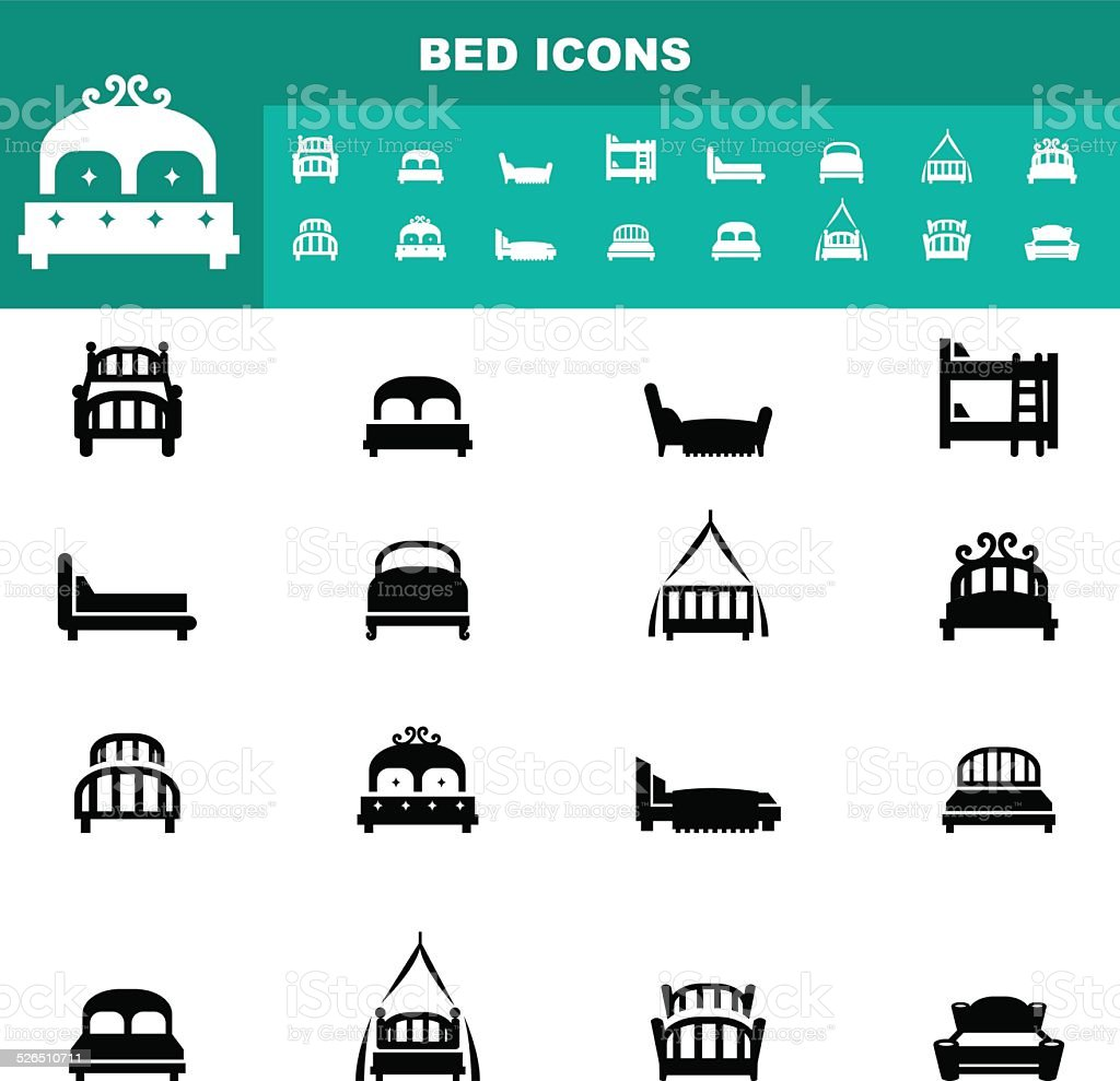 bed icons vector vector art illustration