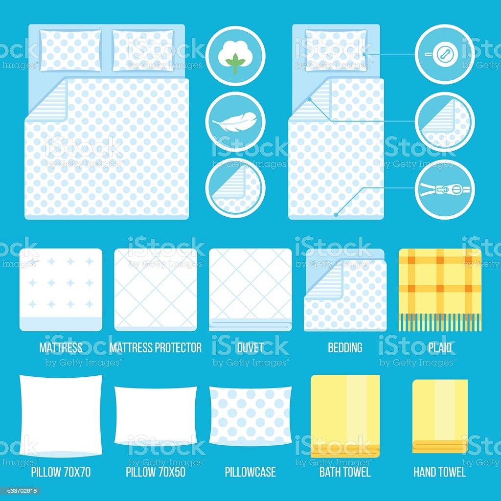 Bed linen vector art illustration