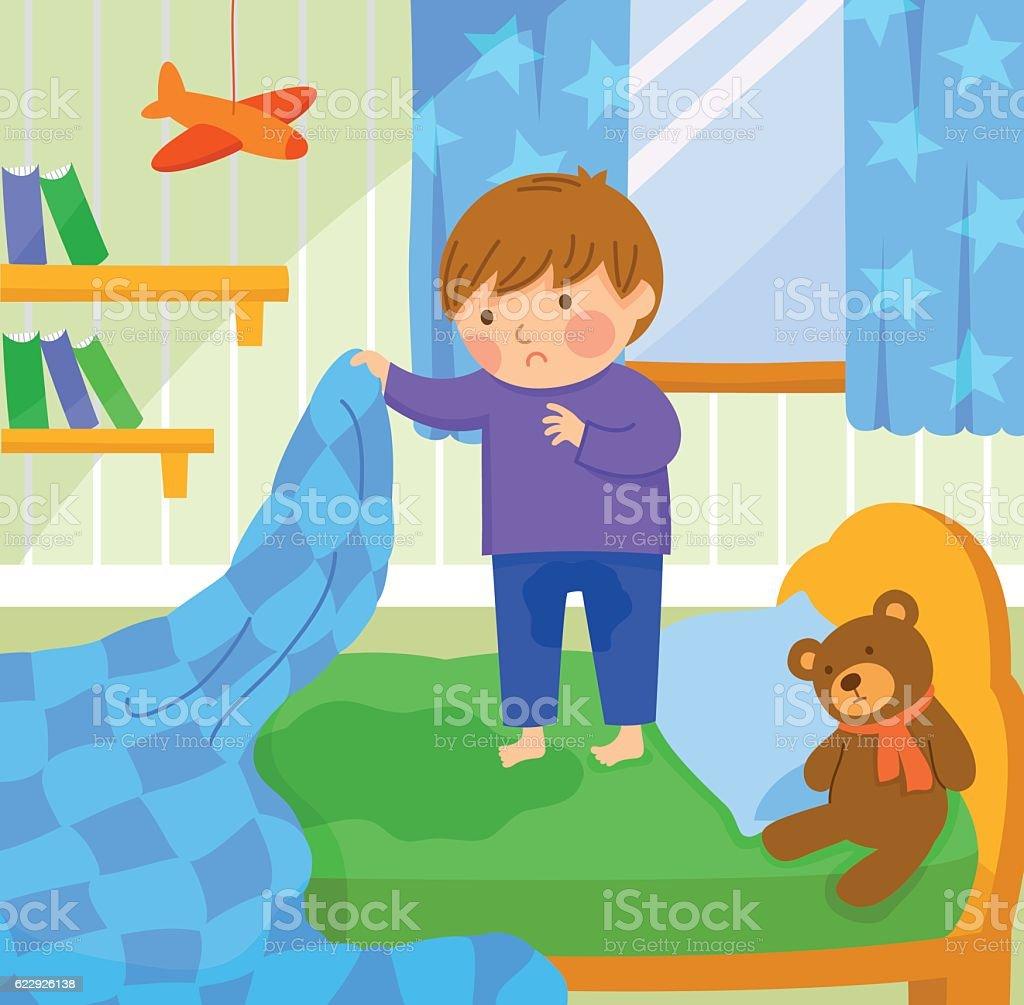 bed wetting vector art illustration