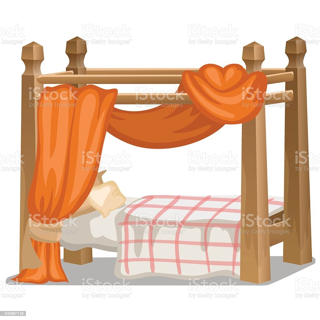 Bed with orange canopy. Interior items isolated vector art illustration
