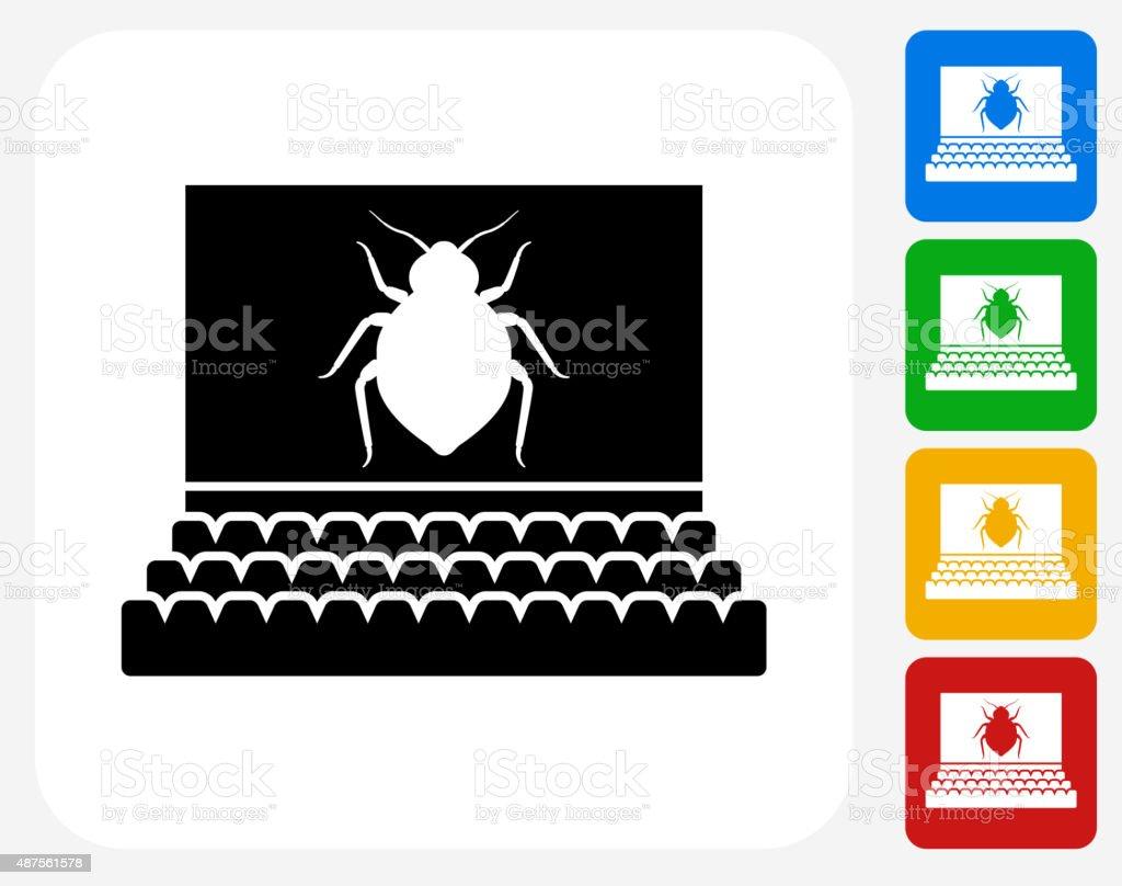 Bedbugs in Movie Theatre Icon Flat Graphic Design vector art illustration