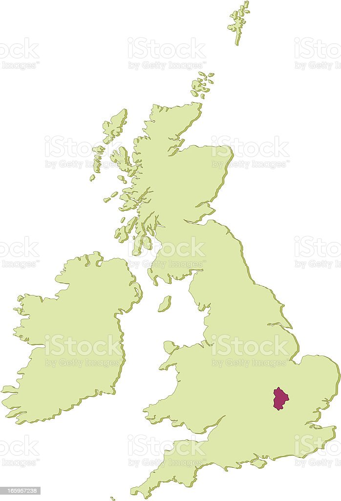 UK Bedfordshire map royalty-free stock vector art