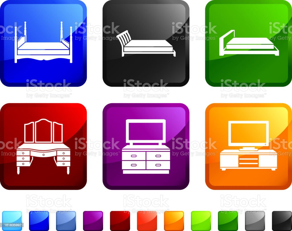 Bedroom Accessories royalty free vector icon set vector art illustration