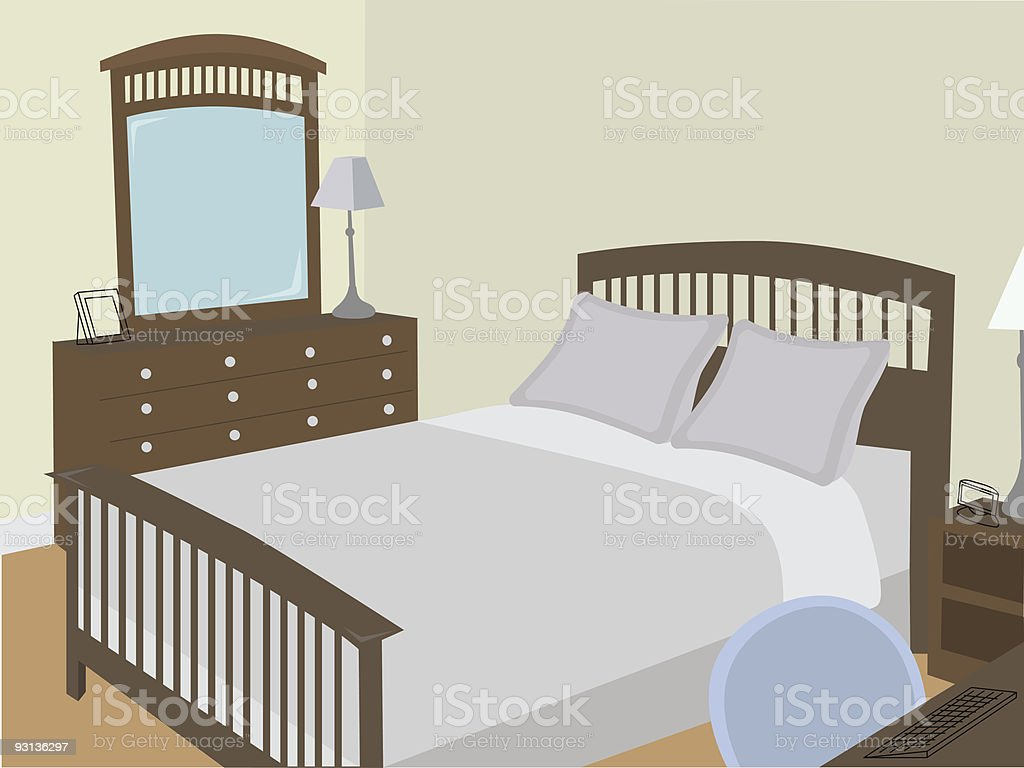 Bedroom at angle with stylized objects royalty-free stock vector art