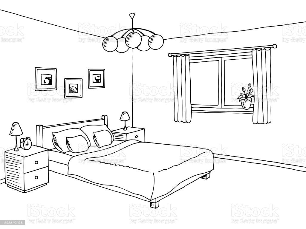 Black And White Living Room Coloring Page