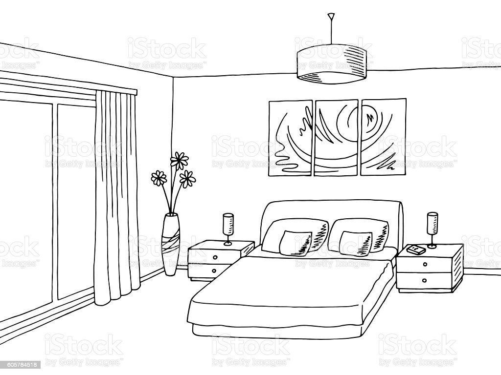 white and black bedroom clip art, vector images & illustrations