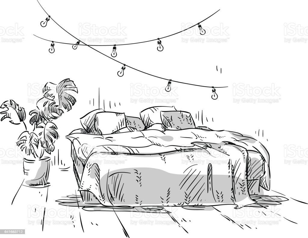 Bedroom Drawing Interior Design Royalty Free Stock Vector Art