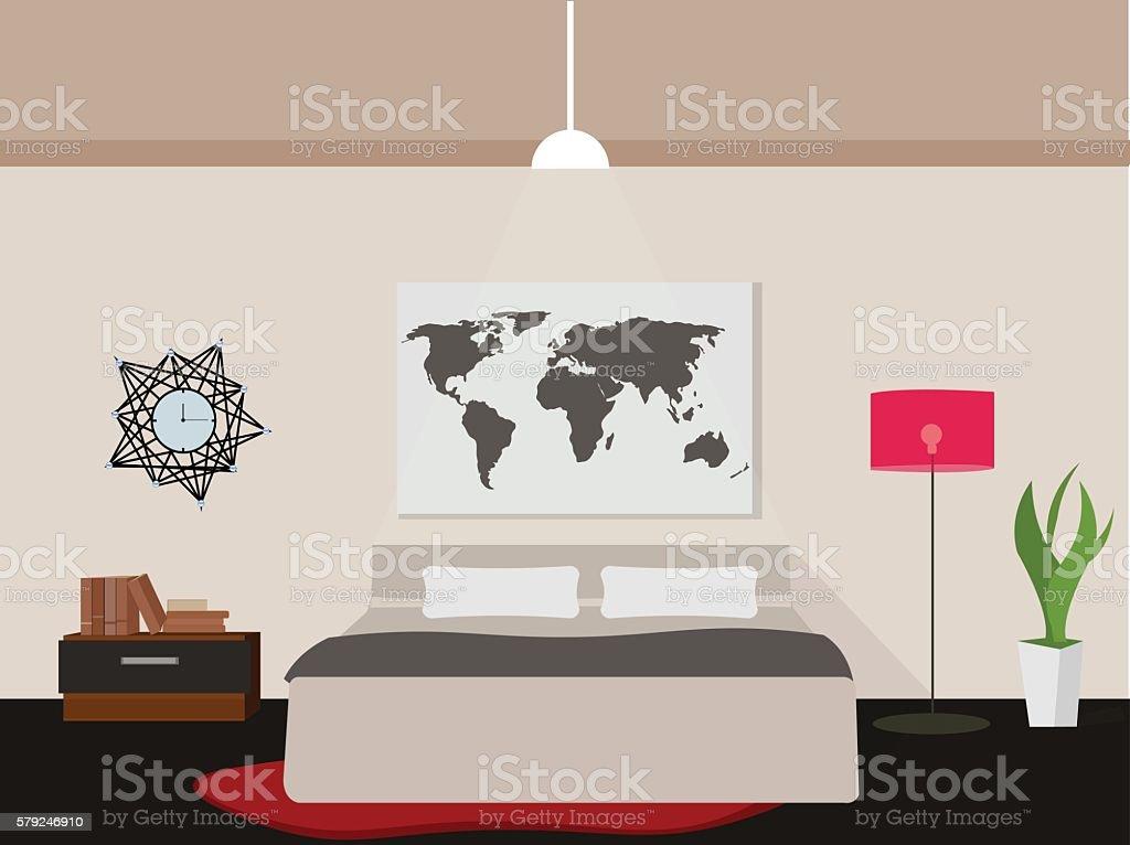 Bedroom flat design vector art illustration