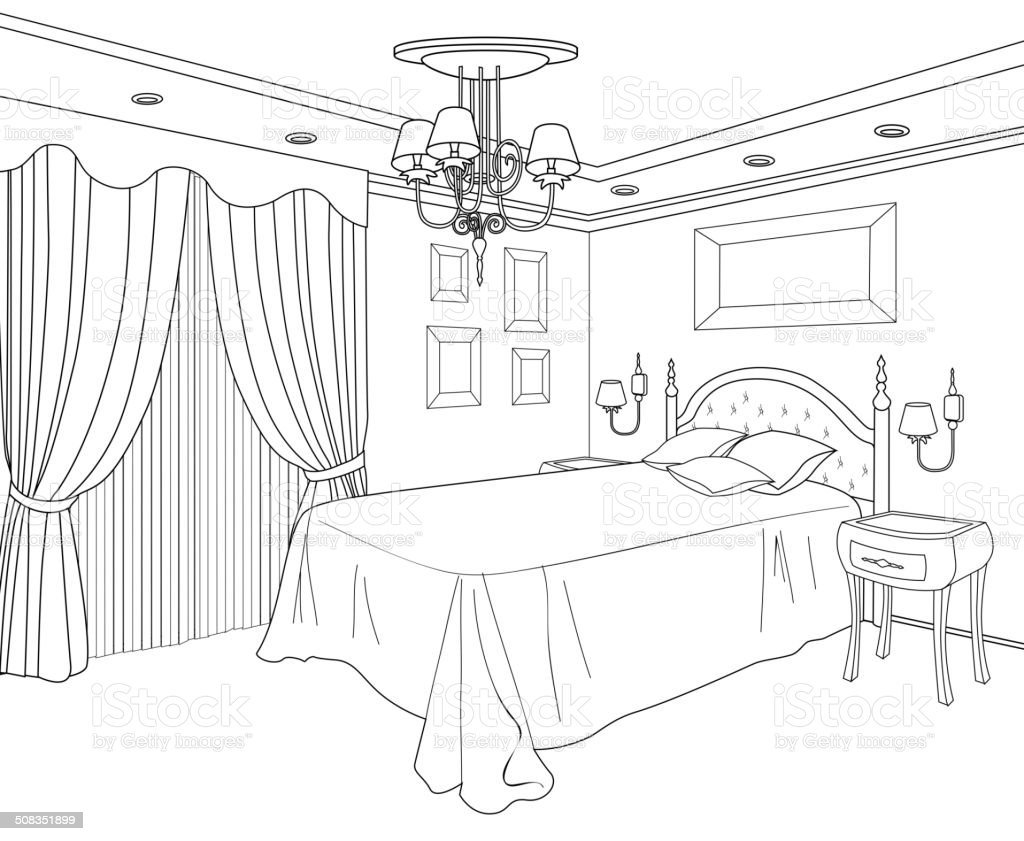 Bedroom Furniture. Editable Interior In Classical Retro Style. Royalty Free  Stock Vector Art