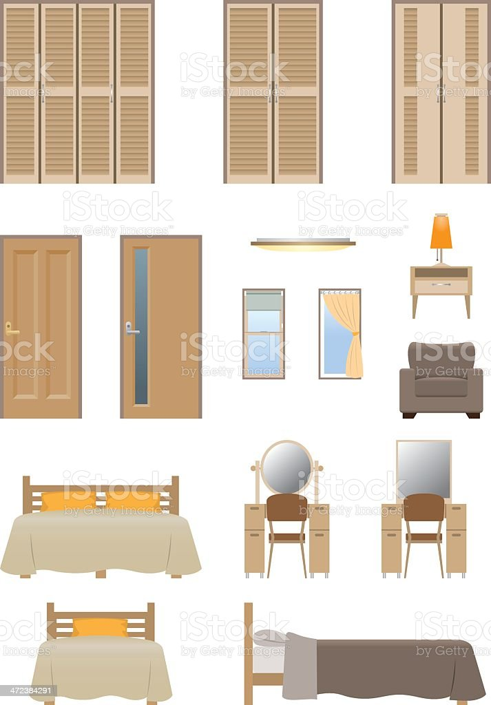 Bedroom furniture royalty-free stock vector art