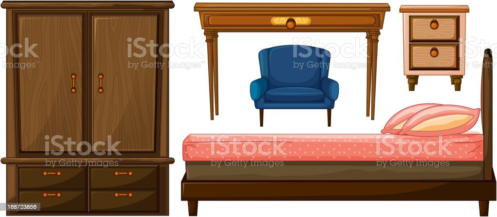 Bedroom furnitures royalty-free stock vector art