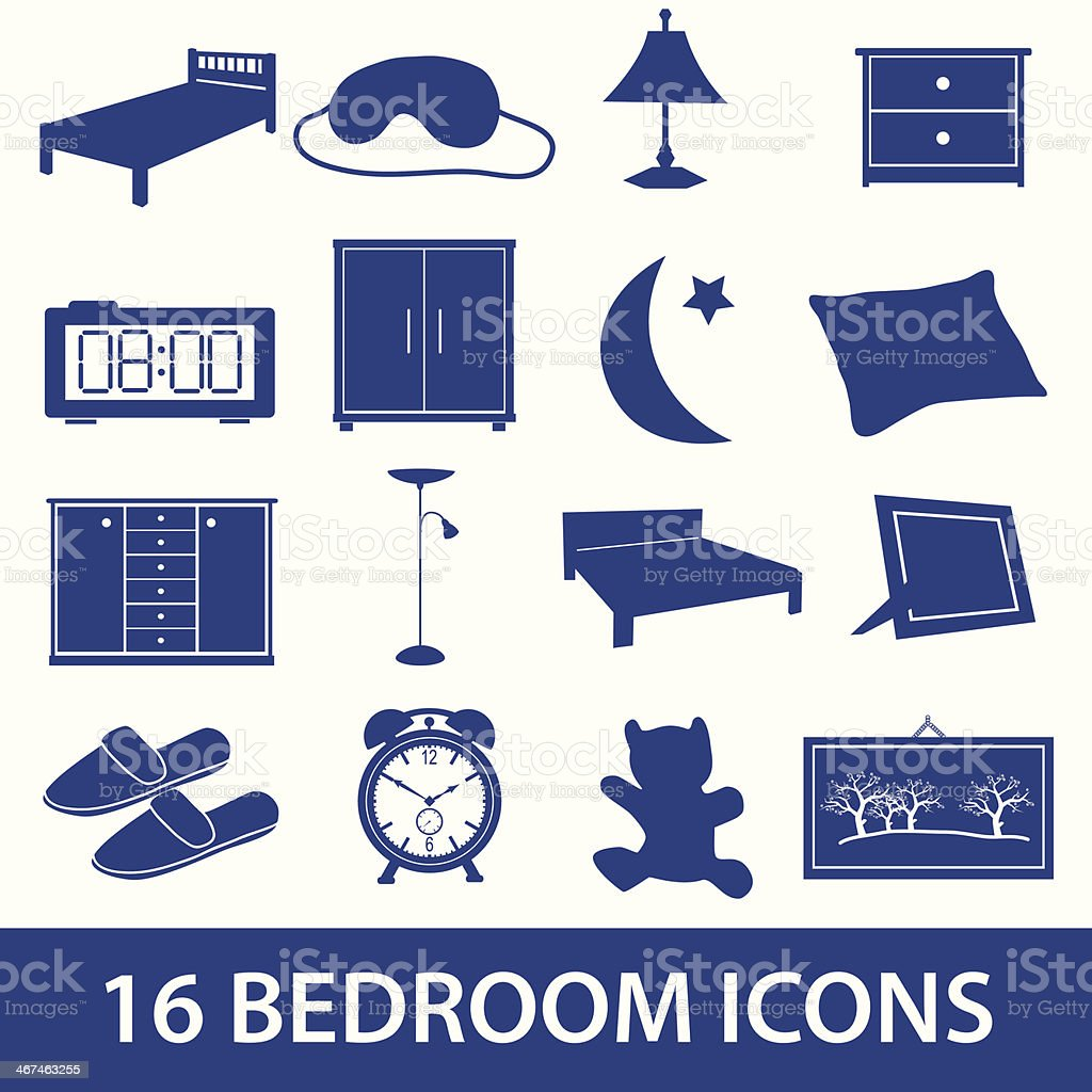 bedroom icon set eps10 vector art illustration