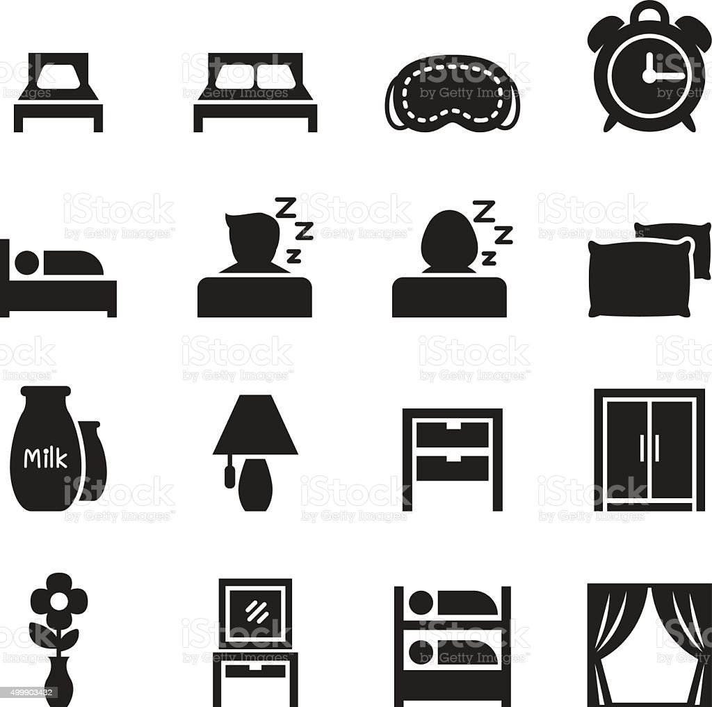 Bedroom icons set vector art illustration