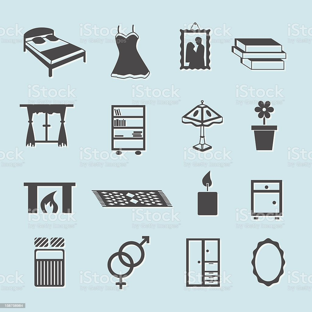 bedroom icons royalty-free stock vector art