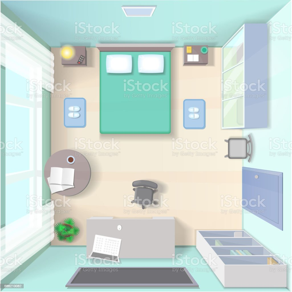 Bedroom interior design with bed, wardrobe, table top view realistic vector art illustration