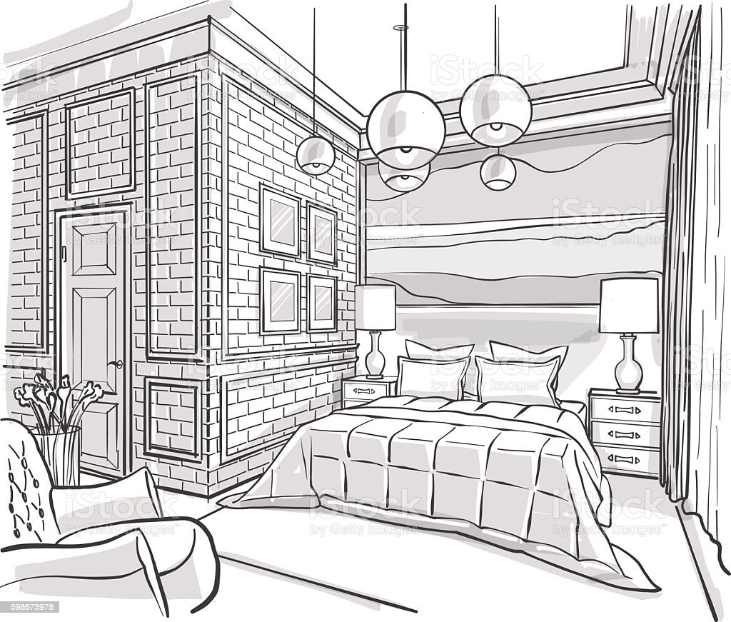 Bedroom interior outline vector sketch drawing stock for Drawing room bed design