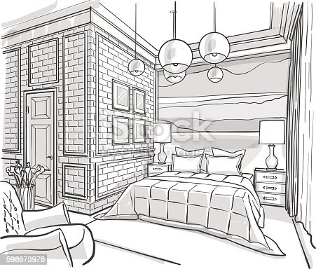Bedroom Designs Outline bedroom interior outline vector sketch drawing stock vector art