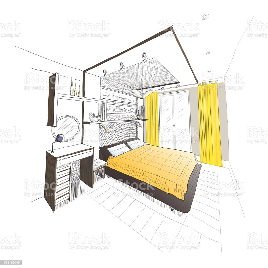 schlafzimmer einrichtung skizze vektor illustration 538183045 | istock, Badezimmer