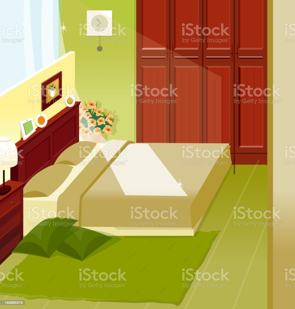 Bedroom Interior royalty-free stock vector art