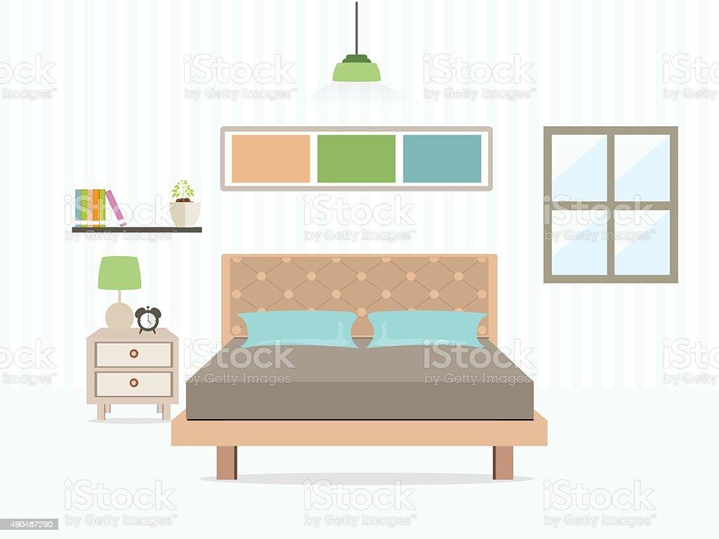 Bedroom interior. vector art illustration