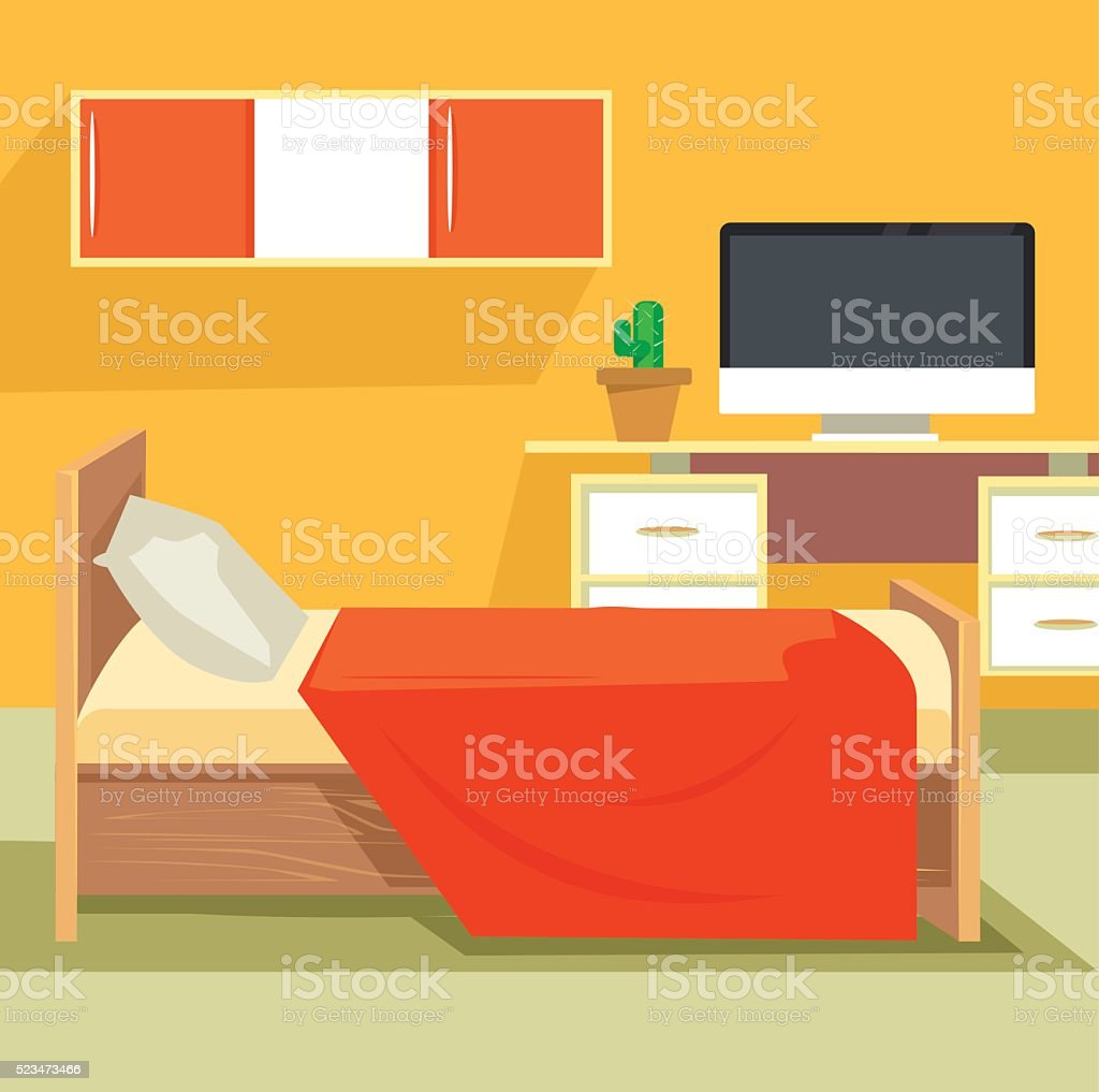 Bedroom interior vector art illustration