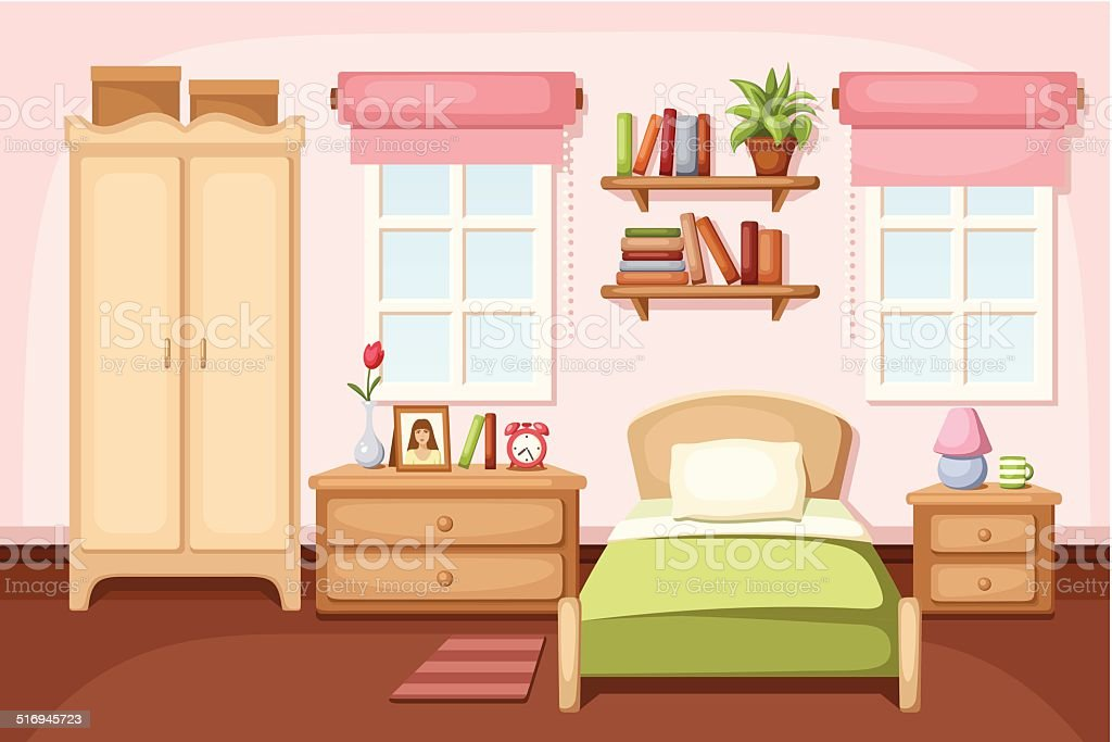 Bedroom interior. Vector illustration. vector art illustration
