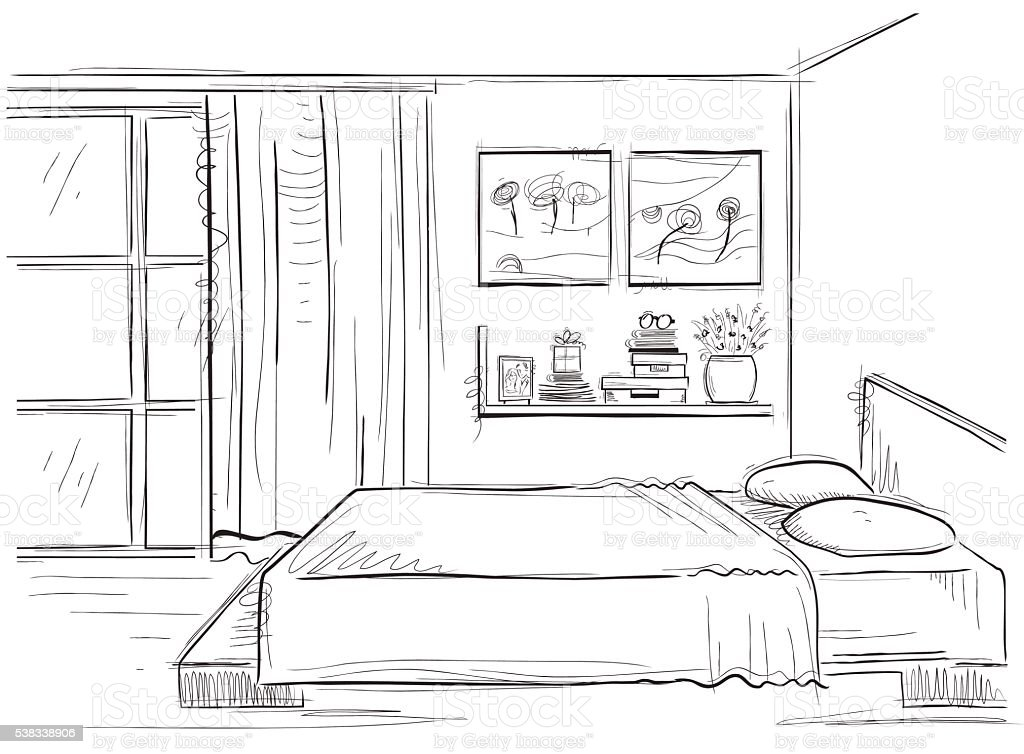 Schlafzimmer Innenansicht Vektor Hand Zeichnen Moderne Zuhause, Schlafzimmer  Entwurf