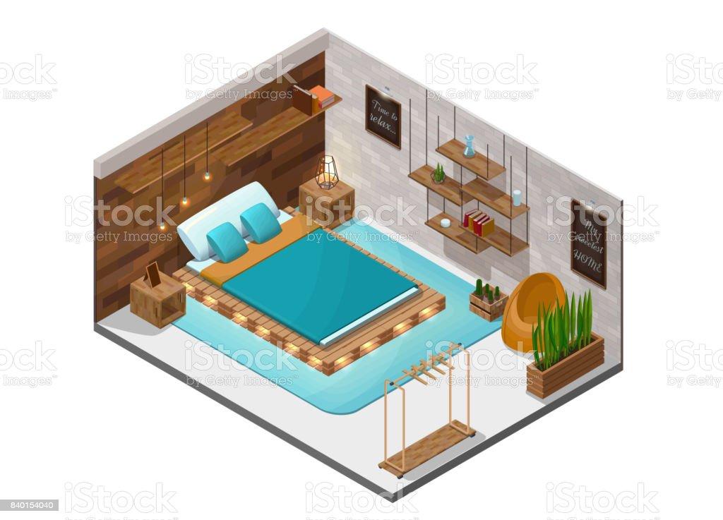terrarium furniture. bedroom isometric infographic 3d cozy interior with pallet diy wooden furniture shelf terrarium lamp