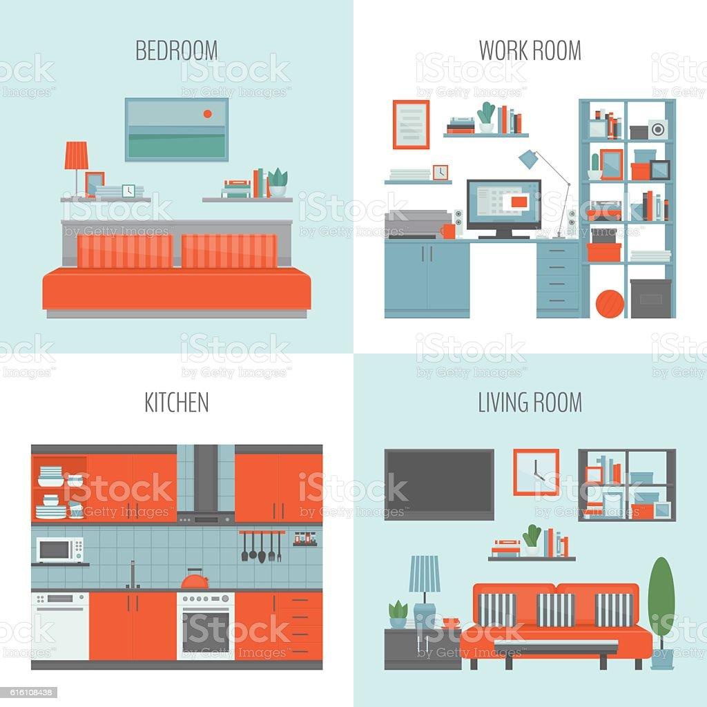 Bedroom Kitchen Work Room Living Royalty Free Stock Vector Art