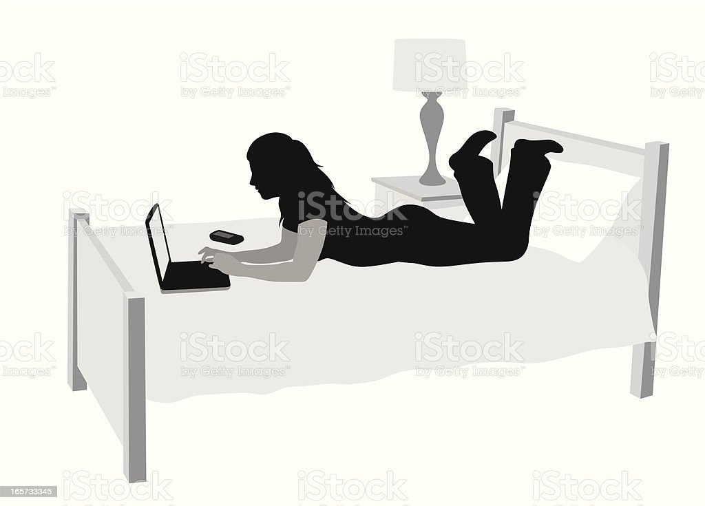 Bedroom Laptop Vector Silhouette vector art illustration