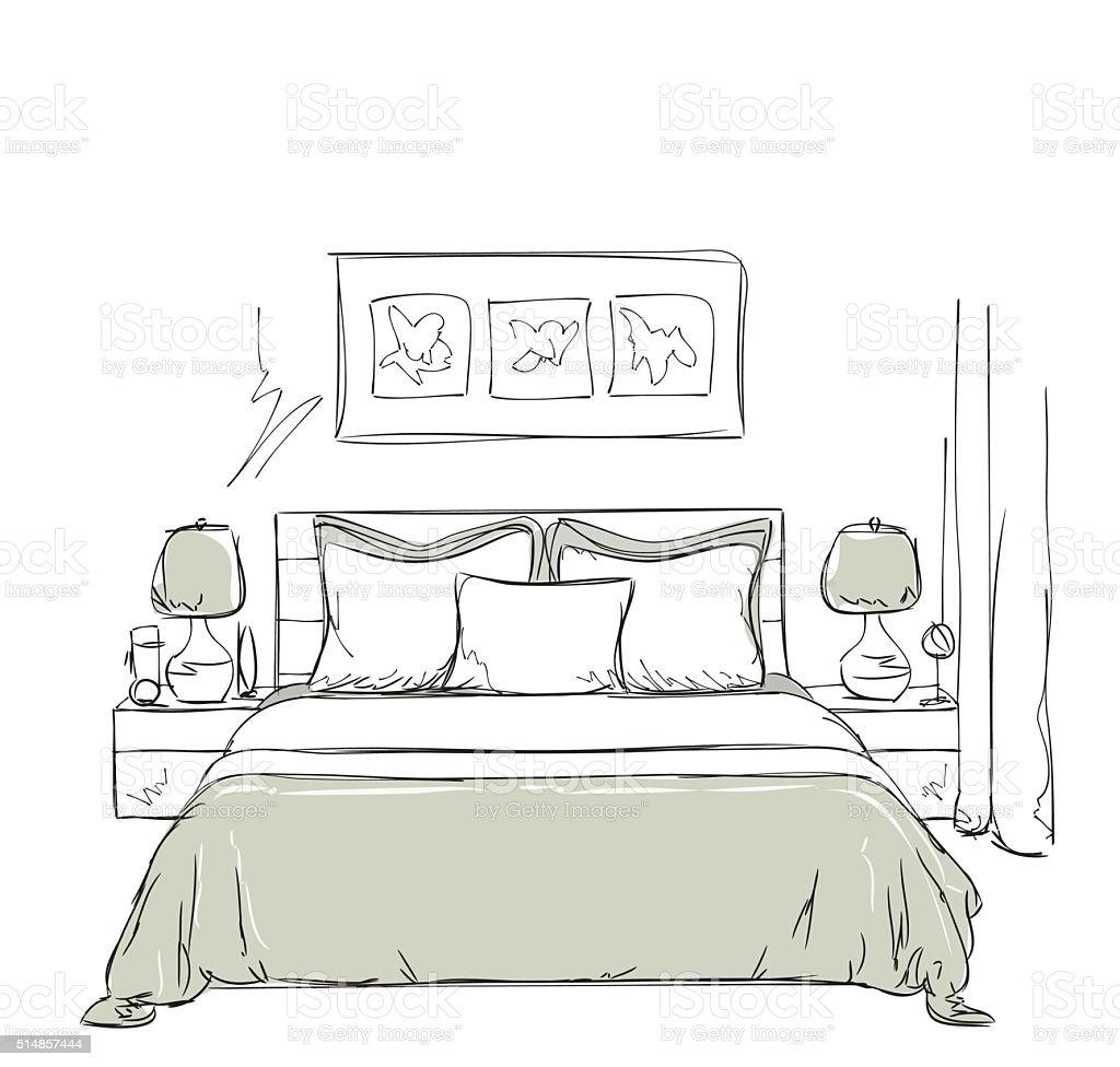 schlafzimmer mit moderner einrichtung zeichnen vektor illustration, Schlafzimmer ideen