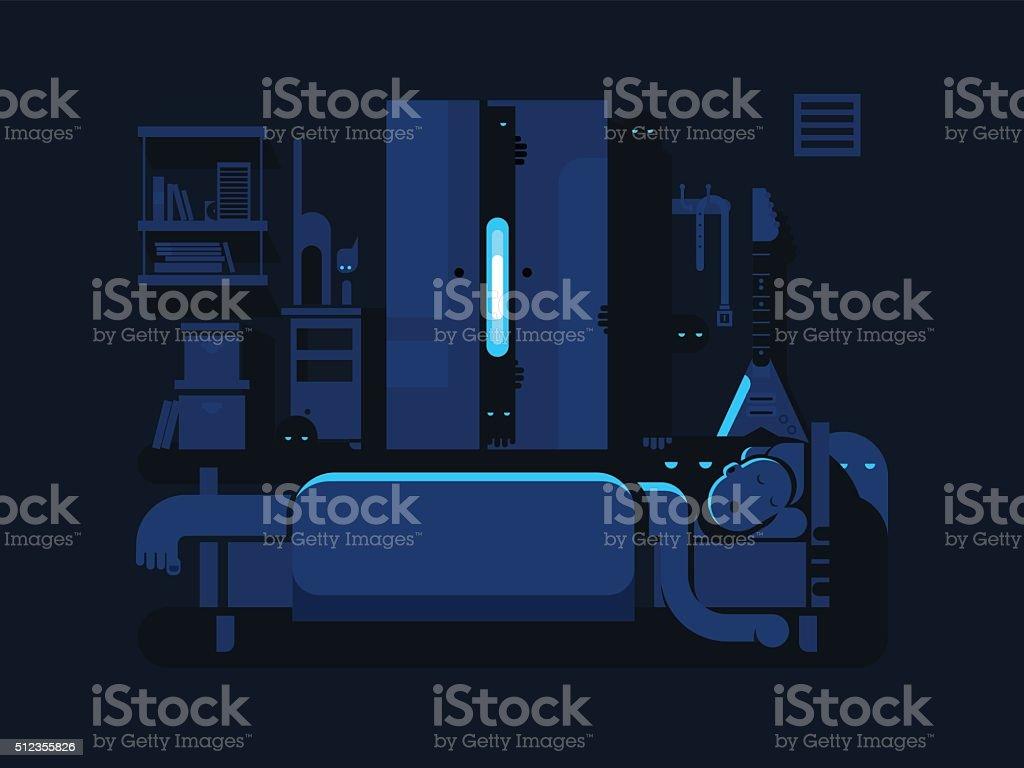 Bedroom mystic flat design vector art illustration