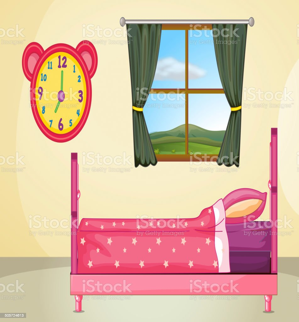 Bedroom setting royalty-free stock vector art