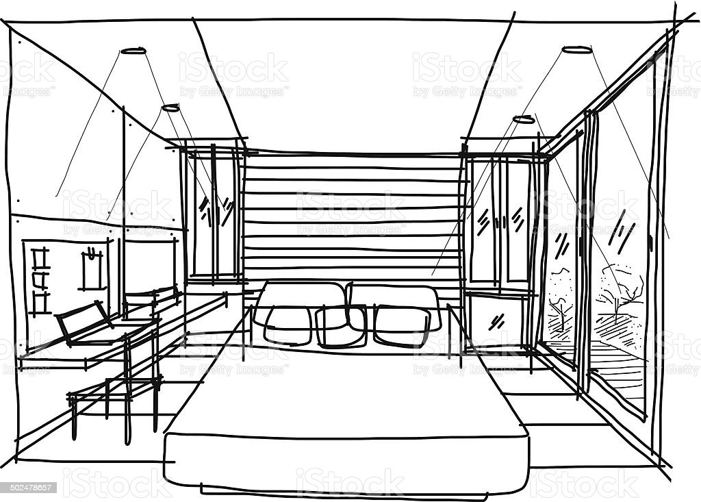 Bedroom Sketch vector art illustration