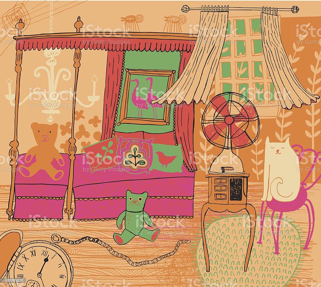 Bedroom vector art illustration