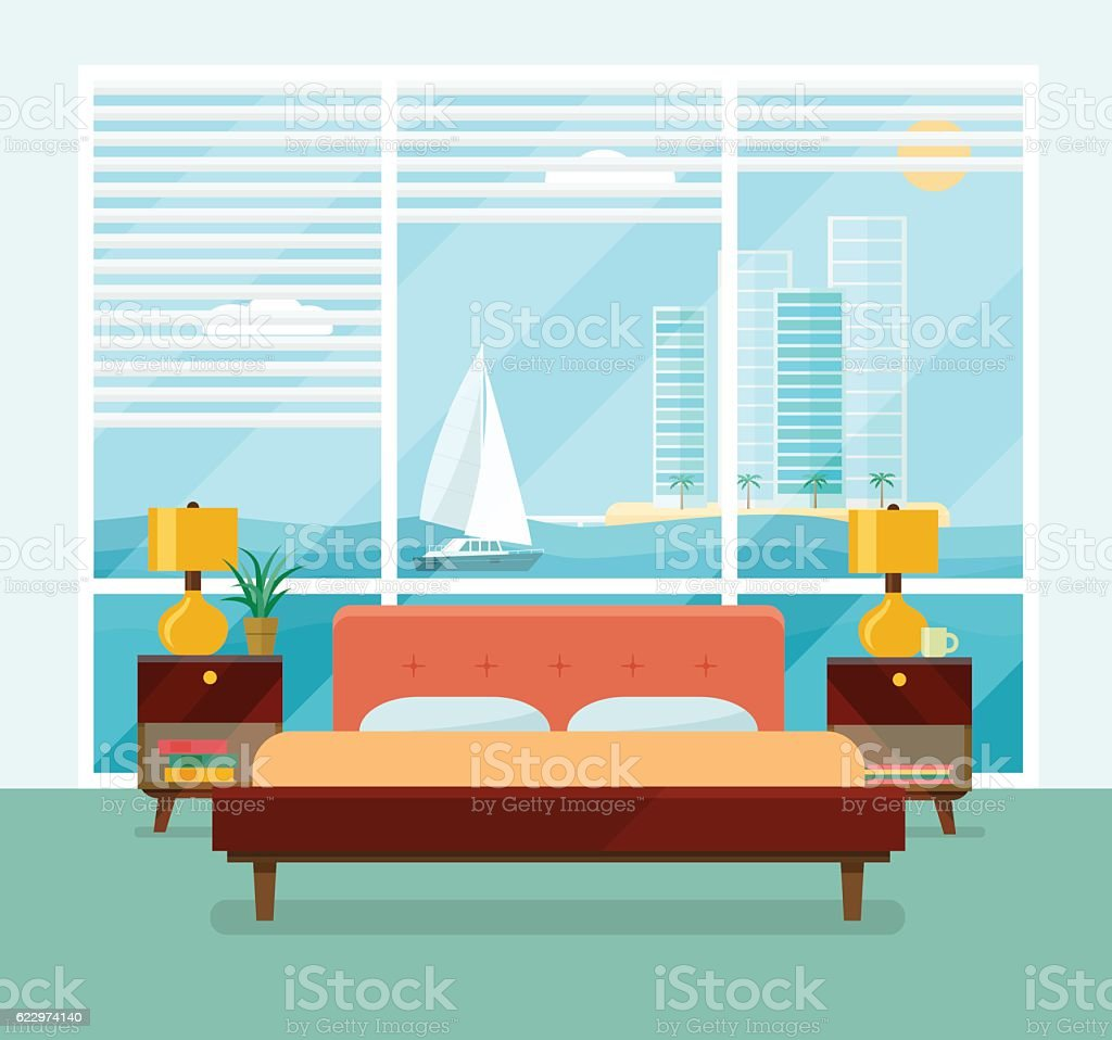 Bedroom with a bed near a window. Vector flat illustration vector art illustration