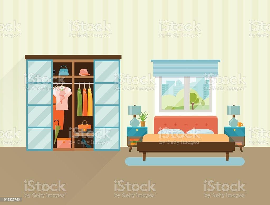 Bedroom with furniture interior. Flat vector illustration. vector art illustration