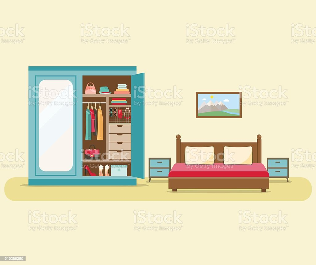Bedroom with furniture interior set. Flat vector illustration. vector art illustration