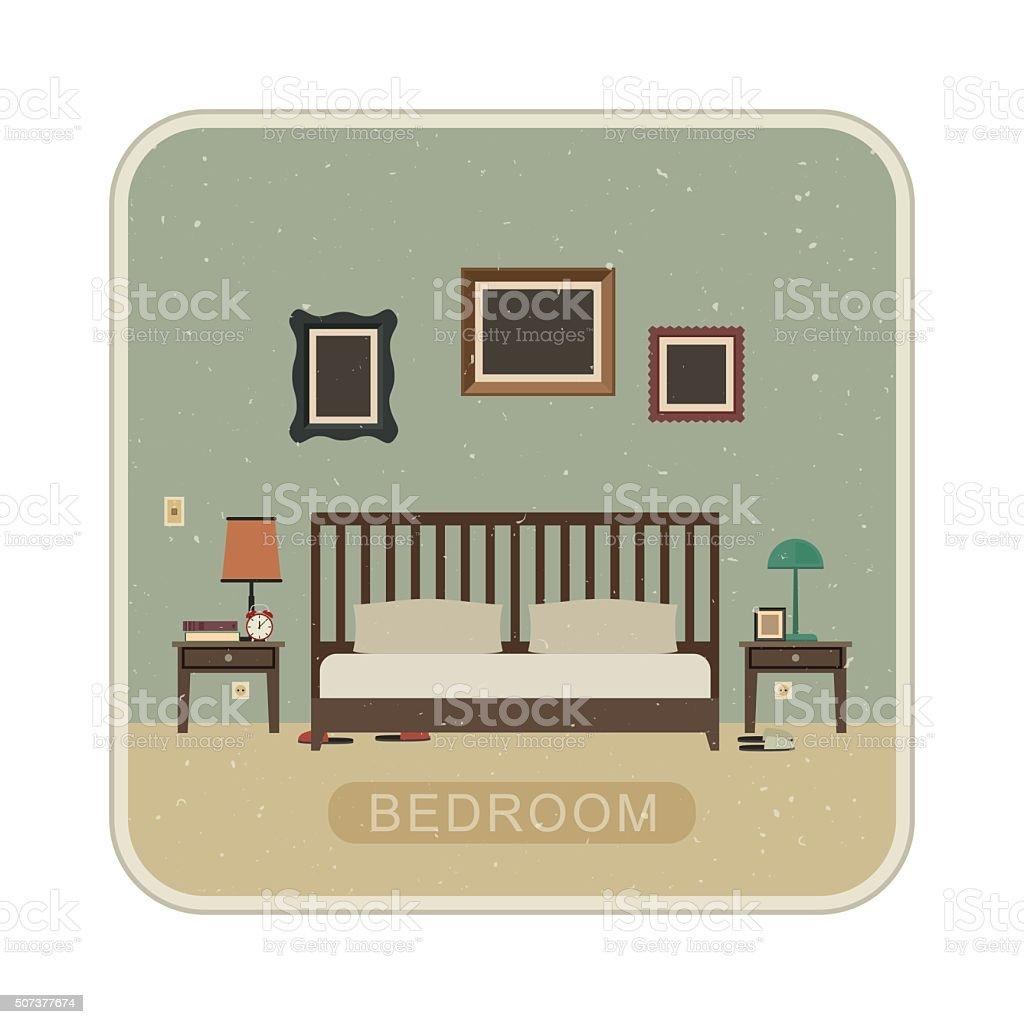 Bedroom with furniture. vector art illustration