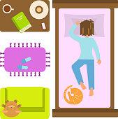 Bedroom with sleeping woman.