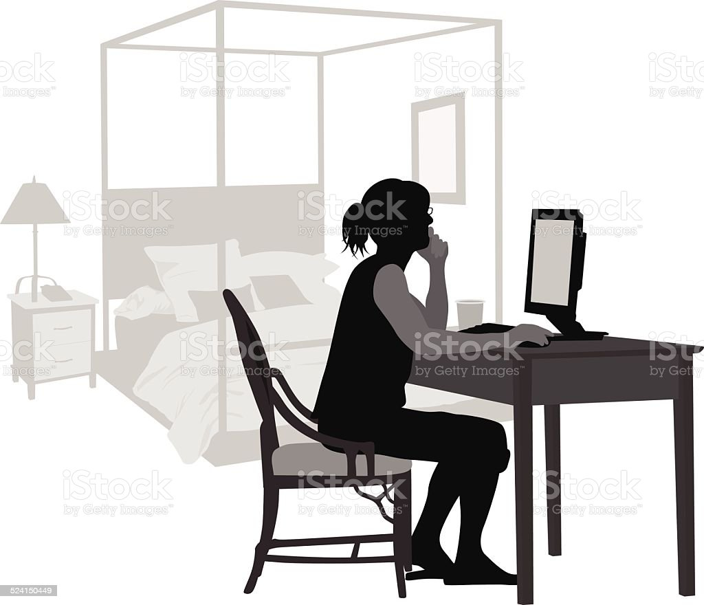 BedroomComputer vector art illustration