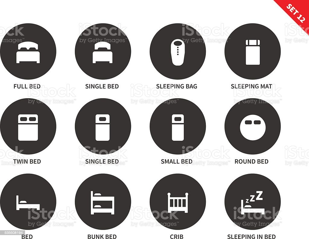 Beds and furniture icons on white background vector art illustration