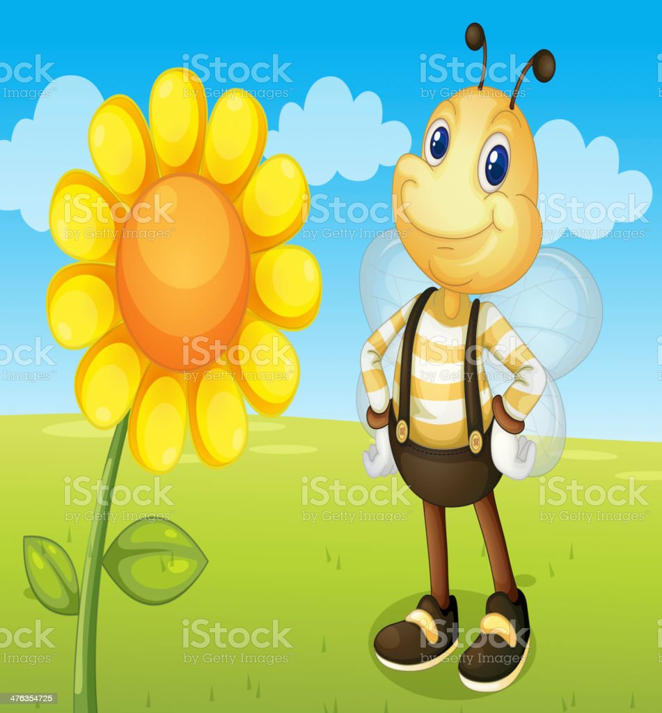 Bee and flower royalty-free stock vector art