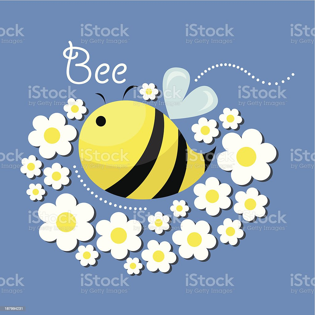 Bee and flowers royalty-free stock vector art