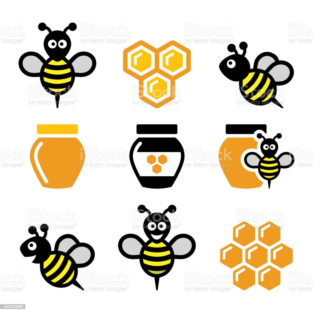 Bee and honey, honeycomb vector icons set vector art illustration