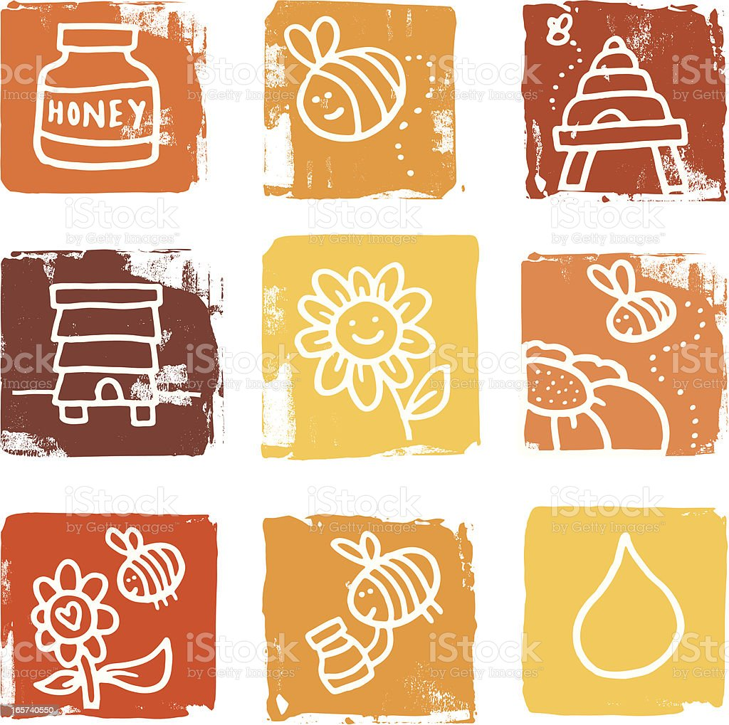 Bee and honey icons blocks royalty-free stock vector art
