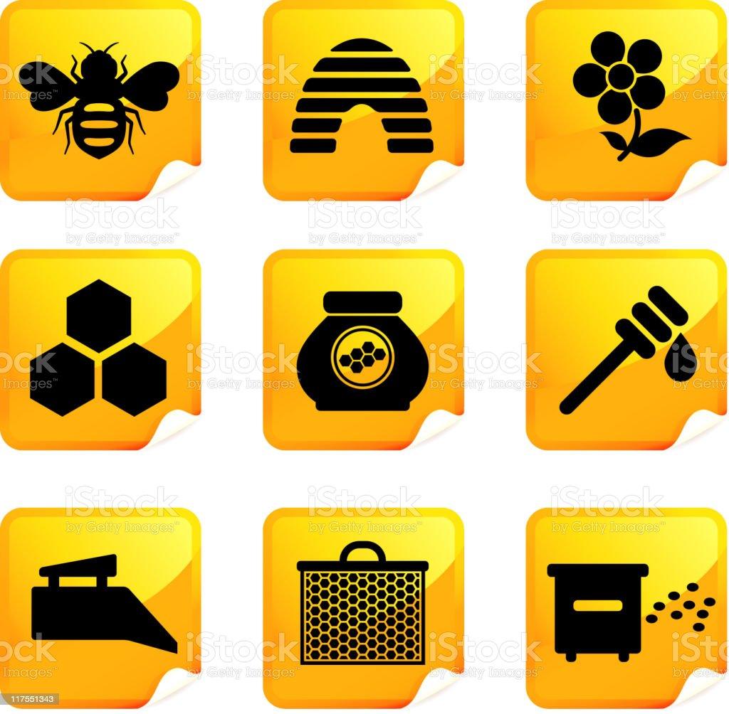 bee and honey nine royalty free vector icon set royalty-free stock vector art