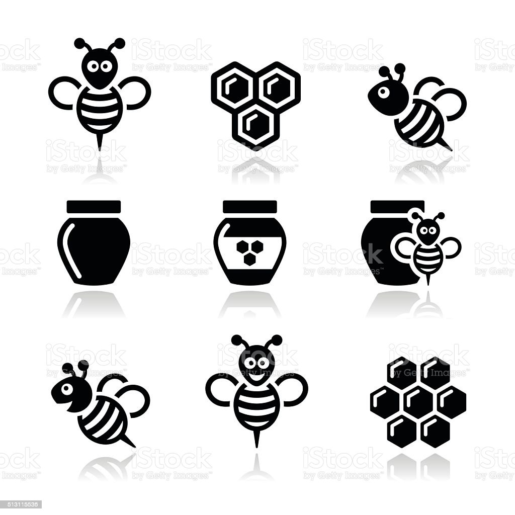 Bee and honey vector icons set vector art illustration