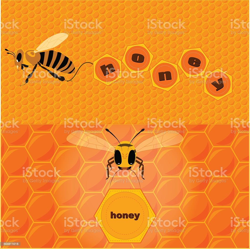 bee and text vector art illustration