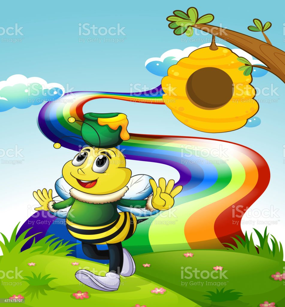 bee at the forest standing above the stump royalty-free stock vector art
